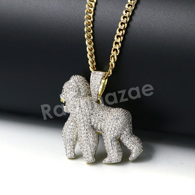 Hiphop Iced Out Gorilla Brass Pendant W/ 5mm 18-30 inches Cuban Chain - Raonhazae