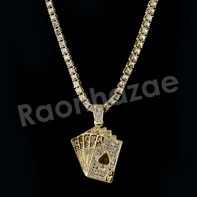 "Micro Pave Playing Cards Pendant w/ 18"" Tennis / 30"" Cuban Chain - Raonhazae"