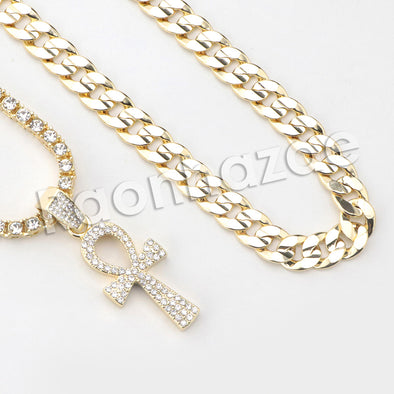 "Micro Pave Ankh Cross Pendant w/ 18"" Tennis / 30"" Cuban Chain"