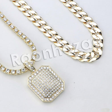 "Micro Pave Hexagon Dogtag Pendant w/ 18"" Tennis / 30"" Cuban Chain"