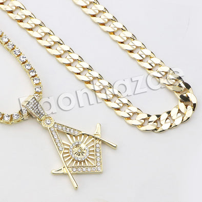 "Micro Pave Freemasonic Icon Pendant w/ 18"" Tennis / 30"" Cuban Chain"