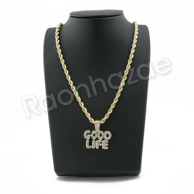 "GOOD LIFE BUBBLE PENDANT W/ 24"" ROPE /18"" TENNIS CHAIN NECKLACE SC002 - Raonhazae"