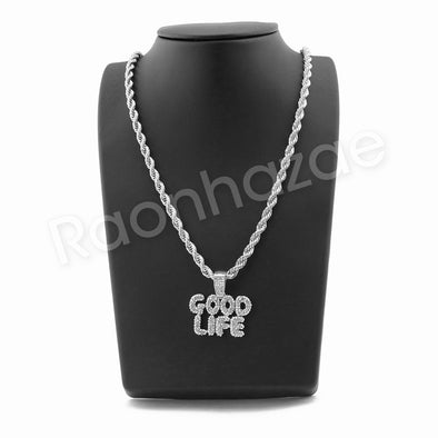 "GOOD LIFE BUBBLE SILVER PENDANT W/ 24"" ROPE /18"" TENNIS CHAIN NECKLACE - Raonhazae"
