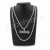 "SAVAGE BUBBLE PENDANT SILVER W/ 24"" ROPE /18"" TENNIS CHAIN NECKLACE - Raonhazae"