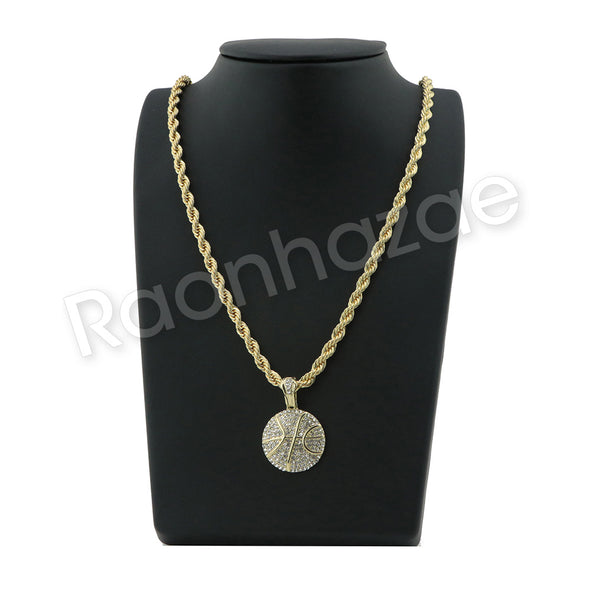"HIP HOP BASKETBALL PENDANT W/ 24"" ROPE /18"" TENNIS CHAIN NECKLACE SC006 - Raonhazae"