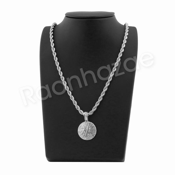 "BASKETBALL PENDANT SILVER W/ 24"" ROPE /18"" TENNIS CHAIN NECKLACE - Raonhazae"