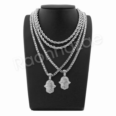 "HANDS OF HAMSA SILVER PENDANT W/ 24"" ROPE /18"" TENNIS CHAIN NECKLACE - Raonhazae"