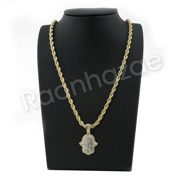 "GOLD HAMSA HAND PENDANT W/ 24"" ROPE /18"" TENNIS CHAIN NECKLACE S09 - Raonhazae"