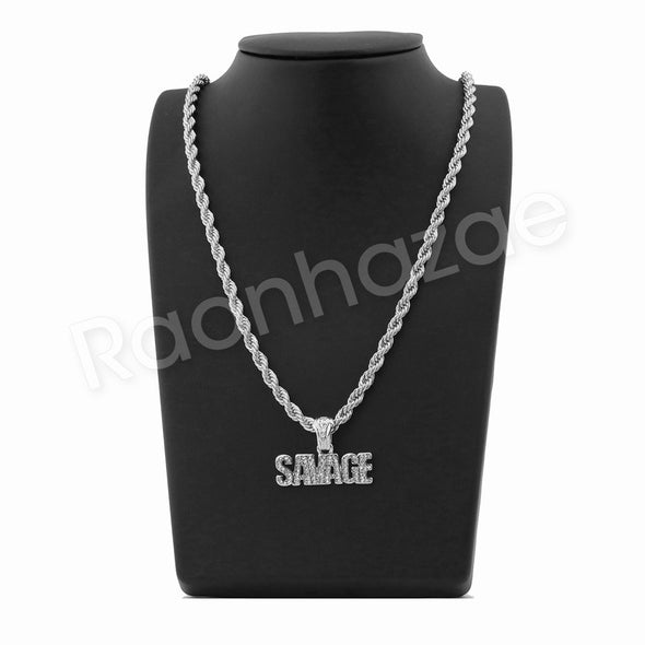 "SAVAGE SILVER PENDANT W/ 24"" ROPE /18"" TENNIS CHAIN NECKLACE - Raonhazae"
