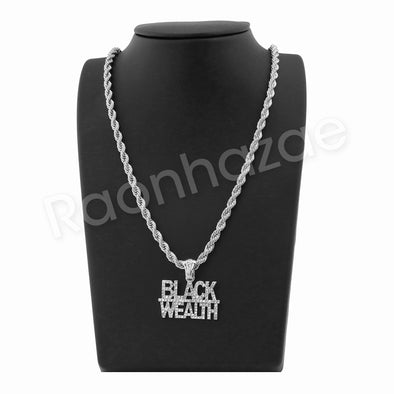 "BLACK WEALTH SILVER PENDANT W/ 24"" ROPE /18"" TENNIS CHAIN NECKLACE - Raonhazae"