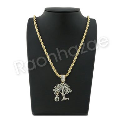 "GOLD MONEY TREE PENDANT W/ 24"" ROPE /18"" TENNIS CHAIN NECKLACE S12 - Raonhazae"