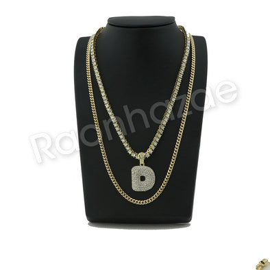 "D INITIAL BUBBLE PENDANT W/ 24"" MIAMI CUBAN /18"" TENNIS CHAIN NECKLACE - Raonhazae"