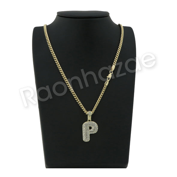"P INITIAL BUBBLE PENDANT W/ 24"" MIAMI CUBAN /18"" TENNIS CHAIN NECKLACE - Raonhazae"