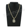 "B INITIAL BUBBLE PENDANT W/ 24"" MIAMI CUBAN /18"" TENNIS CHAIN NECKLACE - Raonhazae"