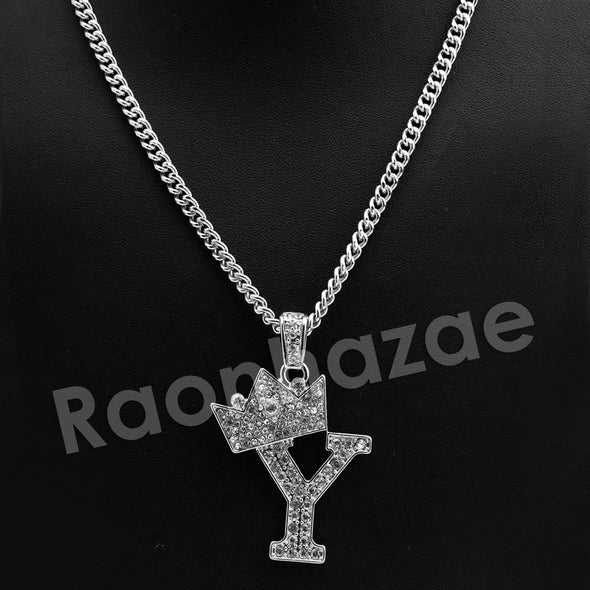 King Crown Y Initial Pendant Necklace Set. - Raonhazae