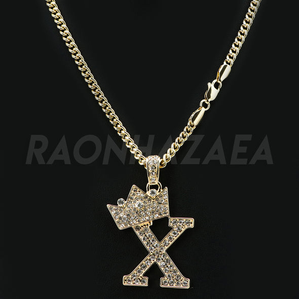 Crown X Initial Pendant Necklace Set - Raonhazae