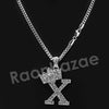 King Crown X Initial Pendant Necklace Set. - Raonhazae