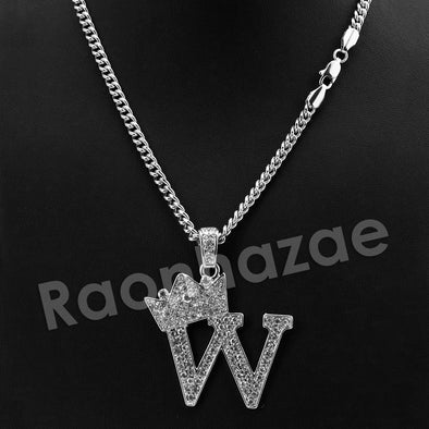 King Crown W Initial Pendant Necklace Set. - Raonhazae