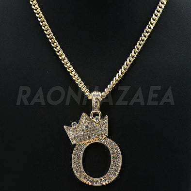 Crown O Initial Pendant Necklace Set - Raonhazae
