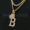 Crown B Initial Pendant Necklace Set - Raonhazae