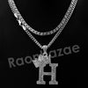 King Crown H Initial Pendant Necklace Set (Silver) - Raonhazae
