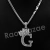 King Crown G Initial Pendant Necklace Set (Silver) - Raonhazae