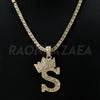 Crown S Initial Pendant Necklace Set - Raonhazae
