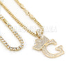 Crown G Initial Pendant Necklace Set - Raonhazae