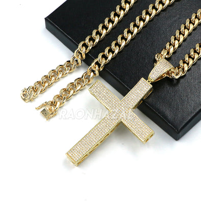 14k Gold Plated Lab Diamond BIG Brass 2PAC Cross Pendant w/ 10mm Cuban Chain Set - Raonhazae