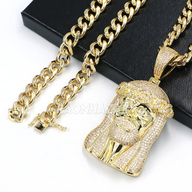 14k Gold Lab Diamond Micro Pave JUMBO Jesus Gold Pendant w/10mm Cuban Chain Set - Raonhazae