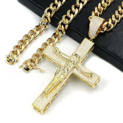 14K ICED HUGE Jesus Crucifix Cross Brass Pendant w/ 10mm Cuban Chain Set - Raonhazae