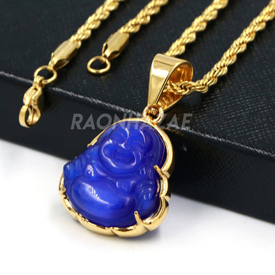 Stainless Steel Gold ICED Chubby Buddha (Blue Jade) Pendant w/ 3mm Rope Chain - Raonhazae