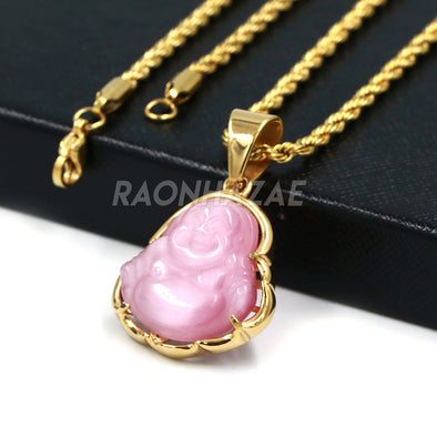 Stainless Steel Gold ICED Chubby Buddha (Pink Jade) Pendant w/ 3mm Rope Chain - Raonhazae
