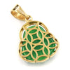 Stainless Steel Gold ICED Chubby Buddha (Green Jade) Pendant w/ 3mm Rope Chain - Raonhazae