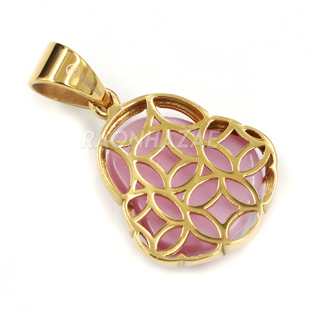 Pink Jade Stainless Steel Gold ICED Chubby Buddha Pendant w// 3mm Rope Chain