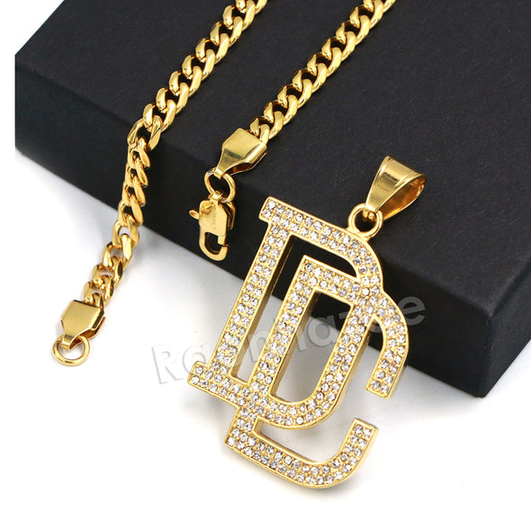 316L Stainless Steel Dream Chasers (DC) Pendant w/ 4mm Miami Cuban Chain - Raonhazae