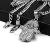 316L Stainless Steel Hands of Hamsa Ice Out Pendant w/ 4mm Miami Cuban Chain - Raonhazae
