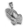 316L Stainless Steel Praying Hands Ice Out Pendant w/ 4mm Miami Cuban Chain - Raonhazae