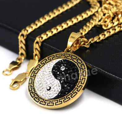 316L Stainless Yin and Yang Blinged Out Pendant w/ 4mm Miami Cuban Chain - Raonhazae