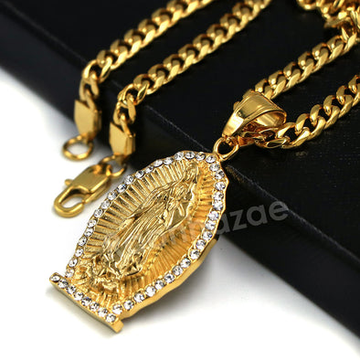 316L Stainless Virgin of Guadalupe Blinged Out Out Pendant w/ 4m Cuban Chain - Raonhazae