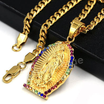 Raonhazae 316L Stainless The Virgin of Guadalupe De Lady of Gudalupe Pendant w/ 4mm Miami Cuban Chain - Raonhazae