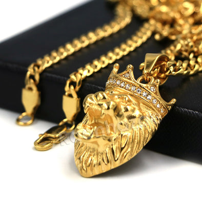 316L Stainless Steel Lion King Blinged Out Pendant w/ 4mm Miami Cuban Chain - Raonhazae