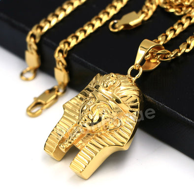 316L Stainless Steel King TUT Symbol Bliged Out Pendant w/ 4mm Miami Cuba Chain - Raonhazae