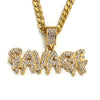 Raonhazae 316L Stainless Steel Dripped Bubble Savage Iced CZ Pendant w/ 4mm Miami Cuban Chain - Raonhazae