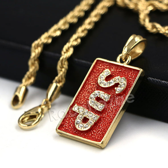"Hip Hop Ice Out Supreme Block Letter Streetwear Red Pendant w/ 4mm 24"" Rope Chain - Raonhazae"