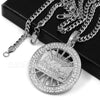 316L Stainless Steel Medallion Last Supper Christ Pendant w/4mm Miami Cuba Chain - Raonhazae