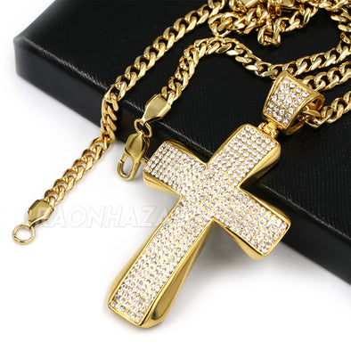 316L Stainless Steel Hip Hop Iced Jesus Cross Pendant w/ 4mm Miami Cuba Chain - Raonhazae