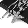 316L Stainless Steel Blinged Out Holy Praying Angels w/ 4mm Miami Cuba Chain - Raonhazae