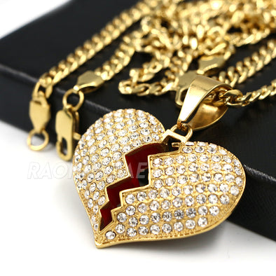 316L Stainless Steel Hip Hop Broken Heart Pendant w/ 4mm Cuban Necklace Set - Raonhazae