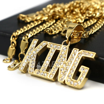 316L Stainless Blinged Out King Lettering Pendant w/ 4mm Miami Cuba Chain - Raonhazae